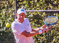 Hilversum, The Netherlands,  August 21, 2020,  Tulip Tennis Center, NKS, National Senior Tennis Championships, Men's single 65+, Martin Koek (NED)<br /> Photo: Tennisimages/Henk Koster