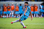 SHENZHEN - JULY 28: Manchester City striker Sergio Aguero in action during the match between Borussia Dortmund vs Manchester City FC at the 2016 International Champions Cup China match at the Shenzhen Stadium on 28 July 2016 in Shenzhen, China. (Photo by Power Sport Images/Getty Images)