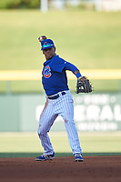 AZL Cubs 1 shortstop Pedro Martinez (11) throws to third base during an Arizona League game against the AZL Angels on June 24, 2019 at Sloan Park in Mesa, Arizona. AZL Cubs 1 defeated the AZL Angels 12-0. (Zachary Lucy / Four Seam Images)