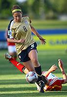 Vicki DiMartino (USA) jumps over Valeria Kleiner (GER) to take possession of the ball..FIFA U17 Women's World Cup, Semi Final, Germany v USA, QEII Stadium, Christchurch, New Zealand, Thursday 13 November 2008. Photo: Renee McKay/PHOTOSPORT