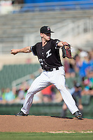 Kannapolis Intimidators relief pitcher Ian Hamilton (12) in action against the Greensboro Grasshoppers at Intimidators Stadium on July 17, 2016 in Greensboro, North Carolina.  The Intimidators defeated the Grasshoppers 3-2 in game one of a double-header.  (Brian Westerholt/Four Seam Images)