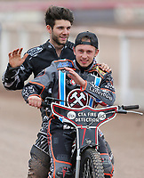 Ben Morley and Alfie Bowtell of Lakeside Hammers on the victory lap<br /> <br /> Photographer Rob Newell/CameraSport<br /> <br /> National League Speedway - Lakeside Hammers v Eastbourne Eagles - Lee Richardson Memorial Trophy, First Leg - Friday 14th April 2017 - The Arena Essex Raceway - Thurrock, Essex<br /> © CameraSport - 43 Linden Ave. Countesthorpe. Leicester. England. LE8 5PG - Tel: +44 (0) 116 277 4147 - admin@camerasport.com - www.camerasport.com