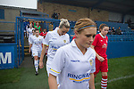 Leeds United Ladies 1 Nottingham Forest Ladies 1, 13/11/2011. Throstle Nest, FA Premier League National Division. Leeds United Ladies FC players (in white) taking to the pitch at the Throstle Nest, Farsley, West Yorkshire, on the day the club played host to Nottingham Forest Ladies FC in an FA Premier League National Division fixture. The match ended in a one-all draw, watched by fewer than 50 spectators at the club's regular home ground. Formed in 1989, Leeds United Ladies has been one of England's top women's sides for most of the last ten years and played in the top winter league for ladies' teams. Photo by Colin McPherson.