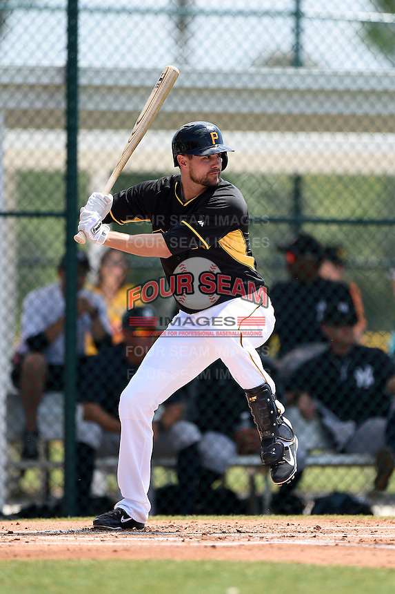 Shortstop Jordy Mercer (10) of the Pittsburgh Pirates during a minor league spring training game against the New York Yankees on March 22, 2014 at Pirate City in Bradenton, Florida.  (Mike Janes/Four Seam Images)