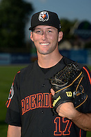 Aberdeen IronBirds pitcher Nigel Nootbaar (17) poses for a photo before a game against the Williamsport Crosscutters on August 4, 2014 at Bowman Field in Williamsport, Pennsylvania.  Aberdeen defeated Williamsport 6-3.  (Mike Janes/Four Seam Images)