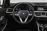 Car pictures of steering wheel view of a 2019 BMW 3 Series Sport PHEV 4 Door Sedan