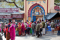 India, Rishikesh.  Indian Tourists Visiting a Hindu Temple.