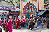 India, Rishikesh.  Indian Tourists Visiting a Hindu Temple.