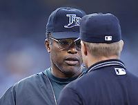 Tampa Bay Devil Rays Manager Hal McRae talks to a umpire during a 2002 MLB season game against the Los Angeles Angels at Angel Stadium, in Los Angeles, California. (Larry Goren/Four Seam Images)