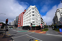Corner of Lower Cuba Street and Wakefield St at 1.20pm on Thursday. Wellington CBD during quarantine lockdown for COVID19 pandemic in Wellington, New Zealand on Thursday, 2 April 2020. Photo: Dave Lintott / lintottphoto.co.nz