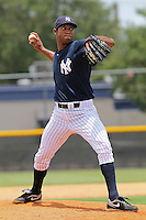 Harold Garce (60) Pitcher for the GCL Yankees during a game on June 28, 2010 against the GCL Blue Jays at the Yankees Training Complex in Tampa, The GCL Yankees are the Gulf Coast Rookie League affiliate of the New York Yankees. Photo By Mark LoMoglio/Four Seam Images