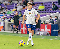 ORLANDO, FL - JANUARY 22: Emily Fox #27 of the USWNT dribbles during a game between Colombia and USWNT at Exploria stadium on January 22, 2021 in Orlando, Florida.