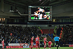 Bolton Wanderers 3 Liverpool 1, 21/01/2012. Reebok Stadium, Premier League. The giant scoreboard replaying home players celebrating scoring the team's third goal at the Reebok Stadium, as Bolton Wanderers take on Liverpool in a Barclays Premier League game. The match was won by Bolton by 3 goals to 1, watched by a near-capacity crowd of 26,854. The win lifted Bolton out of the relegation places in England's top division, while Liverpool remained seventh. Photo by Colin McPherson.