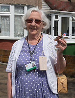 Vera Mullender a member of the living museum in Welling, Kent, England 8th May 2020. Victory in Europe (VE) 75th Anniversary Celebrations during the UK Lockdown due to the Coronavirus pandemic. Photo by Alan Stanford / PRiME Media Images