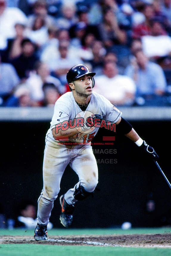 Jerry Hairston,jr of the Baltimore Orioles bats during a 1999 Major League Baseball season game against the Anaheim Angels at Angel Stadium in Anaheim, California. (Larry Goren/Four Seam Images)