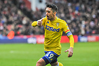 Leeds United's midfielder Pablo Hernandez (19) kisses his wrist to  celebrate during the Sky Bet Championship match between Sheff United and Leeds United at Bramall Lane, Sheffield, England on 1 December 2018. Photo by Stephen Buckley / PRiME Media Images.
