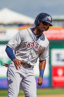 Colorado Springs Sky Sox outfielder Lewis Brinson (28) rounds third base during a game against the Iowa Cubs on September 4, 2016 at Principal Park in Des Moines, Iowa. Iowa defeated Colorado Springs 5-1. (Brad Krause/Four Seam Images)