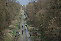 Team Trek-Segafredo during their 2017 Paris-Roubaix recon over the infamous Bois de Wallers/ Trouée d'Arenberg section, 3 days prior to the event.