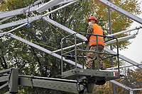 - Milano, Novembre 2020,  Esercito Italiano, reparti  del NRDC (Corpo di Reazione Rapida della NATO) allestiscono una struttura drive-trough per la raccolta di tamponi per la diagnosi del virus Covid-19 in un parcheggio della metropolitana.<br /> <br /> - Milan, November 2020, Italian Army, units of NRDC (NATO Rapid Deployable Corps)  mount a drive-trough structure for the collections of swabs for the diagnosis of Covid-19 virus in a subway parking area.