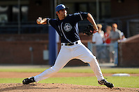 Asheville Tourists starting pitcher Chris Jensen #30 delivers a pitch during a game against the Lexington Legends at McCormick Field on May 5, 2012 in Asheville, North Carolina . The Legends defeated the Tourists 5-1. (Tony Farlow/Four Seam Images).