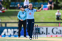 23rd February 2021, Christchurch, New Zealand;  Tash Farrant of England celebrates the wicket of Amy Satterthwaite of New Zealand  during the 1st ODI Cricket match, New Zealand versus England, Hagley Oval, Christchurch, New Zealand