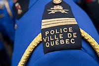 Ville de Quebec Police badge is seen during a police memorial parade in Ottawa Sunday September 26, 2010.