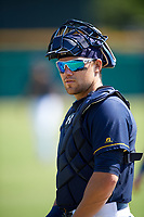 Montgomery Biscuits catcher Brett Sullivan (7) before a game against the Biloxi Shuckers on May 8, 2018 at Montgomery Riverwalk Stadium in Montgomery, Alabama.  Montgomery defeated Biloxi 10-5.  (Mike Janes/Four Seam Images)