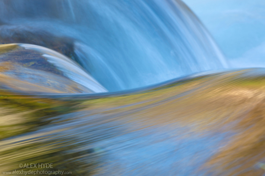 Abstract of reflections at the top of a waterfall, created using a long exposure.. Plitvice Lakes National Park, Croatia. November.