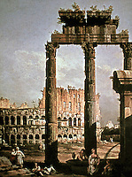 Roman Caprice with Colosseum in Rome. Giclee print by Bernardo Bellotto, landscape painter.