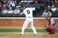 Brendan Tinsman (9) of the Wake Forest Demon Deacons at bat against the North Carolina State Wolfpack at David F. Couch Ballpark on April 18, 2019 in  Winston-Salem, North Carolina. The Demon Deacons defeated the Wolfpack 7-3. (Brian Westerholt/Four Seam Images)