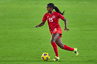 18th February 2021, Orlando, Florida, USA;  Canada forward Nichelle Prince (15) dribbles the ball during a SheBelieves Cup game between Canada and the United States on February 18, 2021 at Exploria Stadium in Orlando, FL.