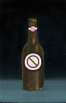 """Illustrative image beer bottle with """"stop sign"""" representing prohibition of alcohol"""