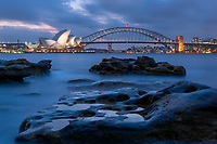 The Sydney Opera House is one of the world's most identifiable images.  This view is from Mrs Macquarie's Chair at night.