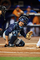 Charlotte Stone Crabs catcher Joey Roach (8) waits to receive a pitch during the second game of a doubleheader against the St. Lucie Mets on April 24, 2018 at First Data Field in Port St. Lucie, Florida.  St. Lucie defeated Charlotte 5-3.  (Mike Janes/Four Seam Images)