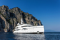 Luxury yacht anchored off the coast of Capri, Isle of Capri, Italy