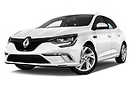 Stock pictures of low aggressive front three quarter view of a 2017 Renault Megane GT 5 Door Hatchback