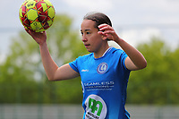 Rkia Mazrouai (2) of AA Gent gets ready for a throw in during a female soccer game between Oud Heverlee Leuven and AA Gent Ladies on the 9 th matchday of play off 1 in the 2020 - 2021 season of Belgian Womens Super League , saturday 22 nd of May 2021  in Heverlee , Belgium . PHOTO SPORTPIX.BE   SPP   SEVIL OKTEM