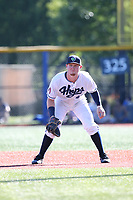 Pavin Smith (47) of the Hillsboro Hops in the field during a game against the Spokane Indians at Ron Tonkin Field on July 22, 2017 in Hillsboro, Oregon. Spokane defeated Hillsboro, 11-4. (Larry Goren/Four Seam Images)