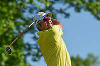 6th June 2021; Dublin, Ohio, USA; Hideki Matsuyama (JPN) watches his tee shot on 3 during the Memorial Tournament final round at Muirfield Village Golf Club