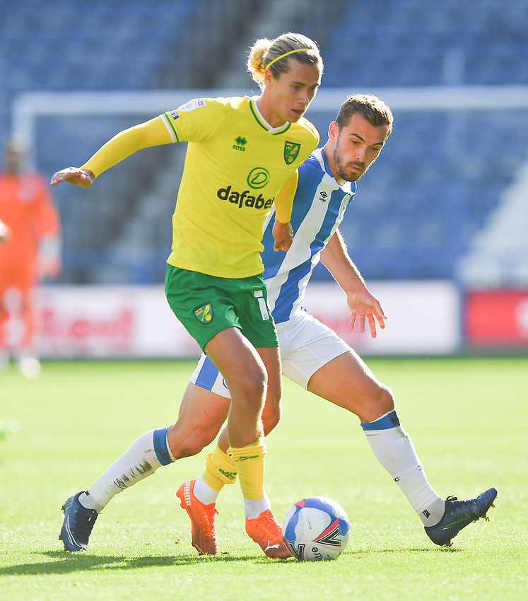 Huddersfield Town's Harry Toffolo and Norwich City's Todd Cantwell battle for the ball<br /> <br /> Photographer Dave Howarth/CameraSport<br /> <br /> The EFL Sky Bet Championship - Huddersfield Town v Norwich - Saturday September 12th 2020 - The John Smith's Stadium - Huddersfield<br /> <br /> World Copyright © 2020 CameraSport. All rights reserved. 43 Linden Ave. Countesthorpe. Leicester. England. LE8 5PG - Tel: +44 (0) 116 277 4147 - admin@camerasport.com - www.camerasport.com