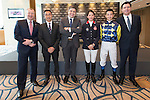 L-R: Winfried Engelbrecht-Bresges, JP, CEO of The Hong Kong Jockey Club, Michael Lee, President of Hong Kong Equestrian Federation, Juan-Carlos Capelli, Vice-President and Head of International Marketing of Longines, Jacqueline Lai, Masters rider, Derek Leung Ka-chun, Masters rider, and Fabien Grobon, Managing Director of EEM, pose for a photograph at Longines Hong Kong Masters official press conference at the Happy Valley Racetrack on February 02, 2016 in Hong Kong.  Photo by Victor Fraile / Power Sport Images