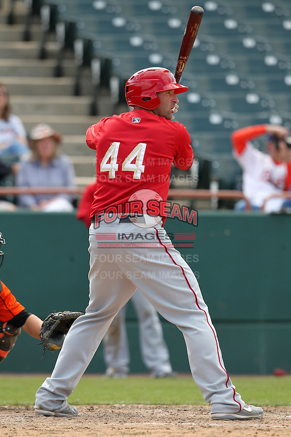 Harrisburg Senators first baseman Tim Pahuta #44 during a game against the Bowie BaySox at Prince George's Stadium on April 8, 2012 in Bowie, Maryland.  Harrisburg defeated Bowie 5-2.  (Mike Janes/Four Seam Images)