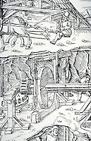 Science:   Georgius Agricola, De Re Metalica, 1556.  Woodcut by Hans Deutsch.   A book cataloguing the state of the art of mining, refining, and smelting metals,