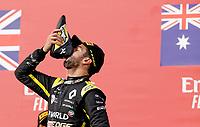 1st November 2020, Imola, Italy; FIA Formula 1 Grand Prix Emilia Romagna, Race Day;  3 Daniel Ricciardo AUS, Renault DP World F1 Team celebrates 3rd place on the podium