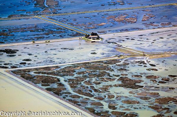 aerial photograph of flooding in the Sacramento river delta, California