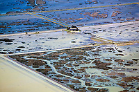 aerial photograph of flooding in the Sacramento river delta, California