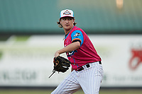 Pescados de Carolina relief pitcher Nate Peden (11) in action against the Delmarva Shorebirds at Five County Stadium on September 4, 2021 in Zebulon, North Carolina. (Brian Westerholt/Four Seam Images)