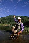 Landing a brook trout in Kettle Creek, PA