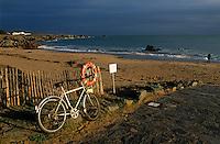 Europe/France/Pays de la Loire/85/Vendée/Ile d'Yeu/Côte Sauvage: La plage des Vieilles et bicyclette