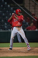 AZL Angels designated hitter William English (24) at bat during an Arizona League game against the AZL Athletics at Tempe Diablo Stadium on June 26, 2018 in Tempe, Arizona. The AZL Athletics defeated the AZL Angels 7-1. (Zachary Lucy/Four Seam Images)